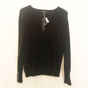 NWT Zara Knit Black Pearls bear wrists Sweater,  L